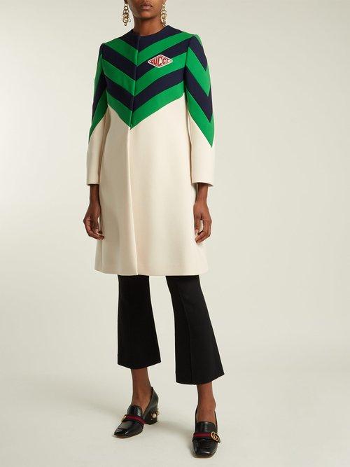 Chevron Stripe Wool Coat by Gucci