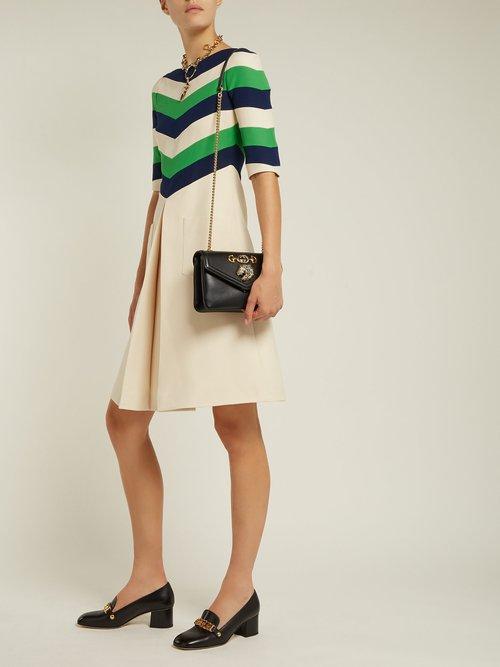 Chevron Striped Wool Blend Dress by Gucci