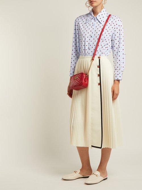 Ladybird-print striped cotton shirt by Gucci