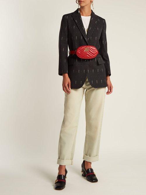 Logo Wool And Silk Blend Jacquard Blazer by Gucci