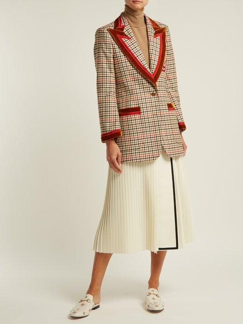 Velvet Trim Houndstooth Wool Blend Blazer by Gucci