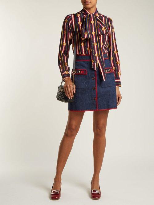 Chain-print silk shirt by Gucci