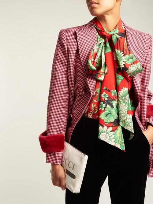 Botanic-print silk blouse by Gucci