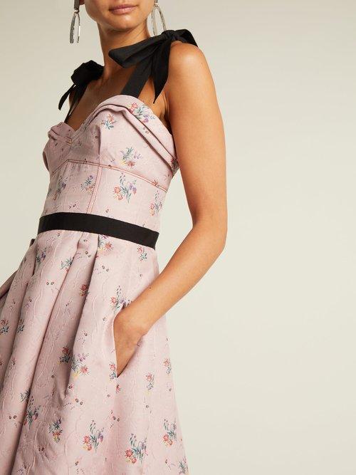 Floral-jacquard pleated midi dress by Carolina Herrera