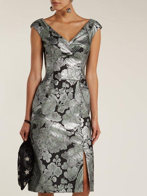 Shop Erdem Jyoti floral jacquard midi dress online sale