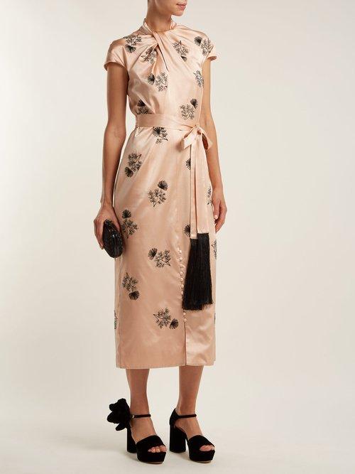 Finn floral-beaded silk-satin dress by Erdem