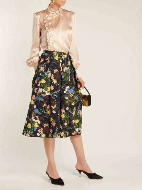Photo of Edlyn Ruffle Trimmed Silk Blouse by Erdem - shop Erdem online sales