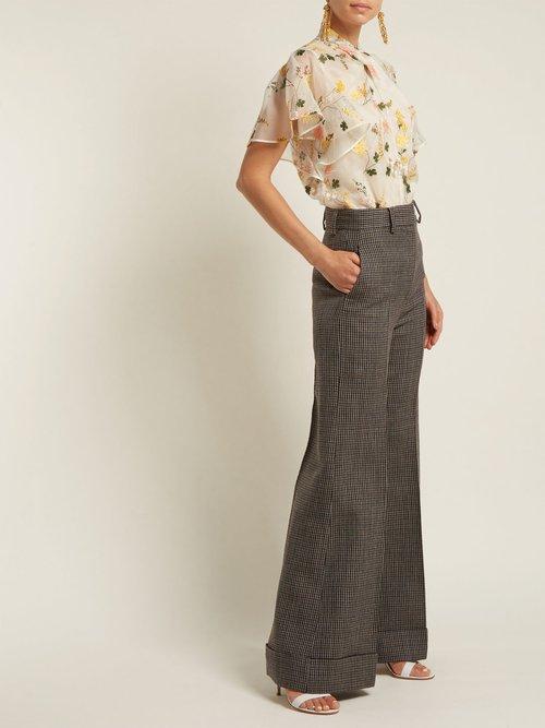 Kirwin Mariko Meadow silk-organza blouse by Erdem