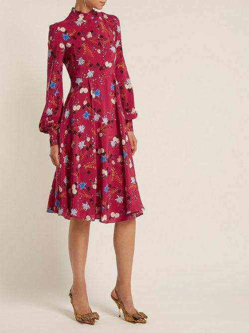 Shop Erdem Neville floral-print stand-collar silk dress online sale