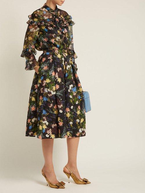 Margery Mariko Meadow-print silk-chiffon blouse by Erdem