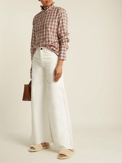 Nola ruffle-collar plaid cotton shirt by Nili Lotan