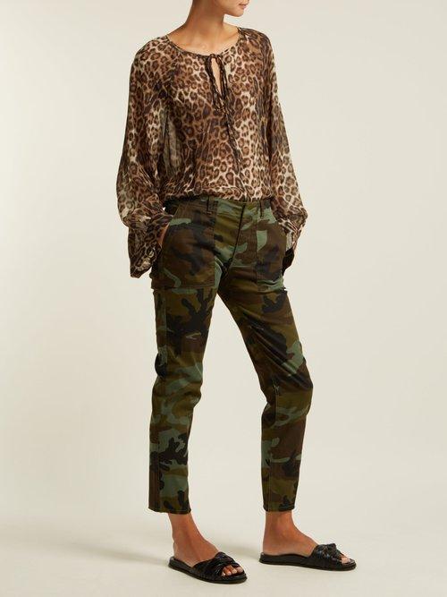 Photo of Jenna Camouflage Print Cotton Blend Trousers by Nili Lotan - shop Nili Lotan online sales