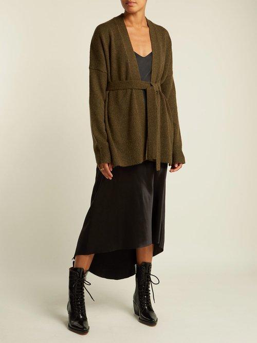 Photo of Navia Tie Waist Wool Blend Cardigan by Nili Lotan - shop Nili Lotan online sales
