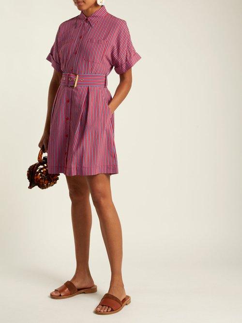 Striped patch pocket shirtdress by Diane Von Furstenberg