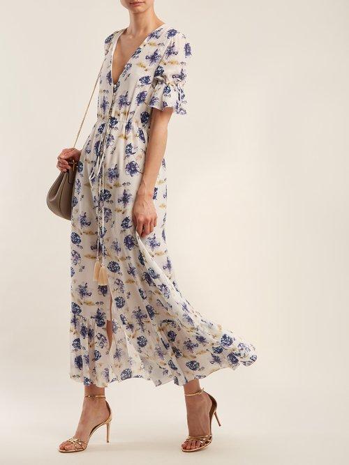 V Neck Floral Print Dress by Athena Procopiou