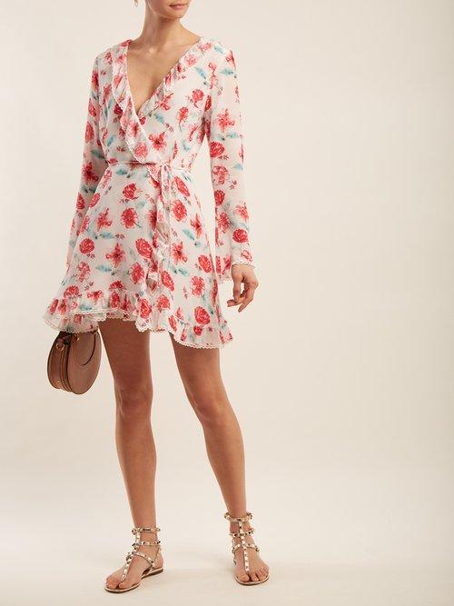 Floral Print Silk Wrap Dress by Athena Procopiou