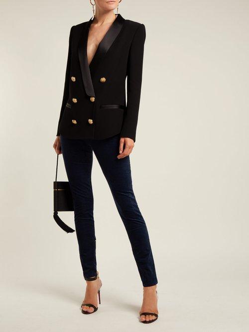 Photo of Cotton Blend Velvet Trousers by Balmain - shop Balmain online sales