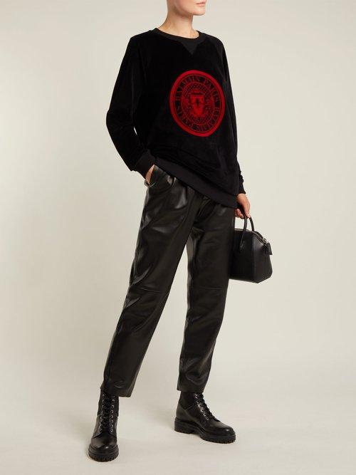 Logo-jacquard velvet sweatshirt by Balmain