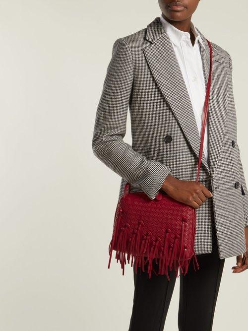 Nodini Intrecciato fringed leather cross-body bag by Bottega Veneta