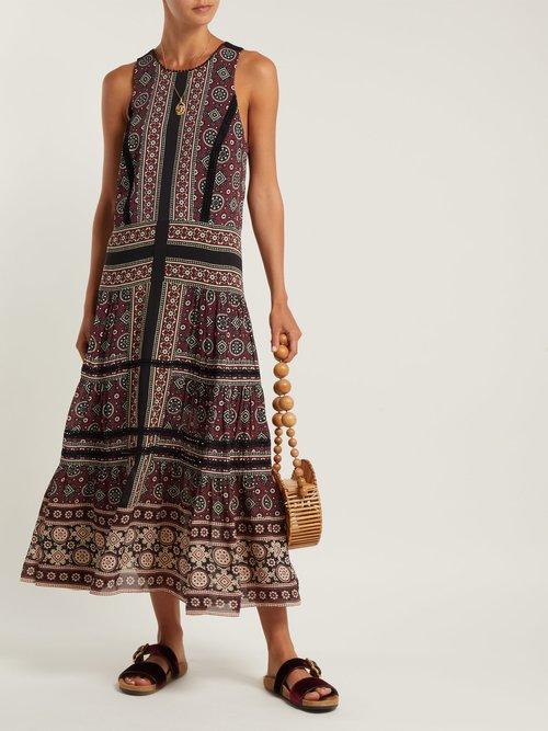 Shop Sea Ezri crochet-trimmed printed georgette dress online sale