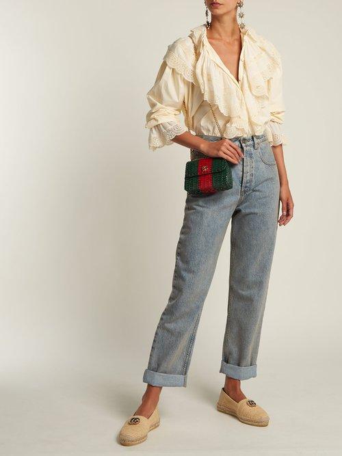 GG Cestino woven-wicker mini cross-body bag by Gucci
