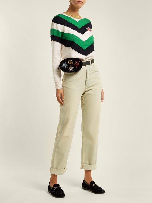 GG Marmont embellished velvet belt bag by Gucci