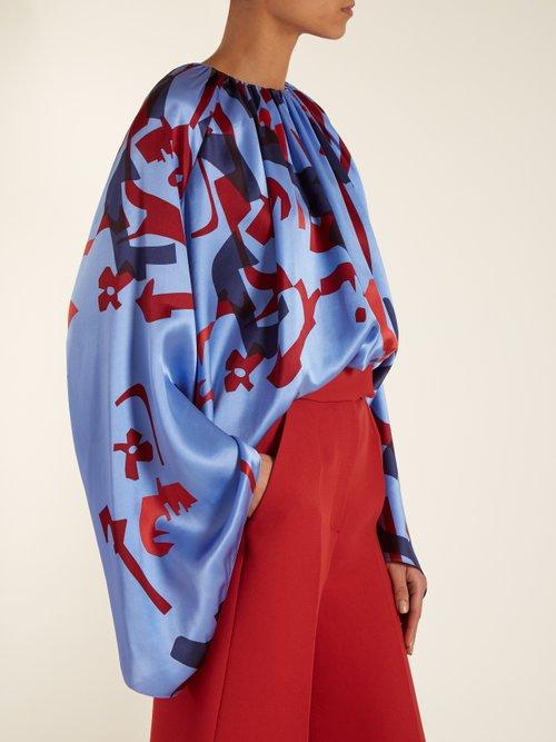 Giana geometric-print satin blouse by Roksanda
