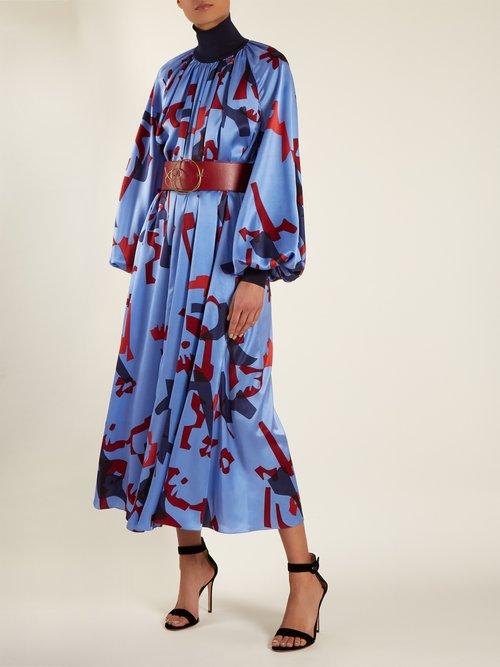 Cressida graphic-print silk dress by Roksanda