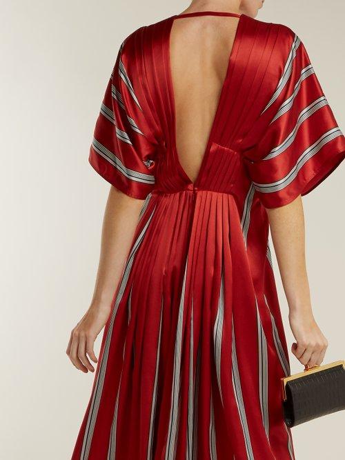 Mihara striped silk-satin dress by Roksanda