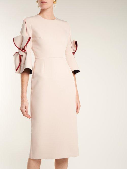 Lavete bow-sleeve bonded crepe dress by Roksanda