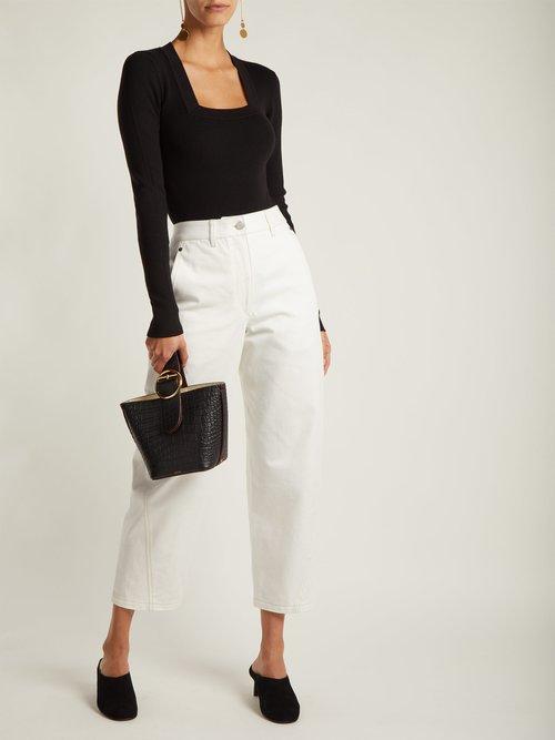 Daisy square-neck wool bodysuit by Khaite