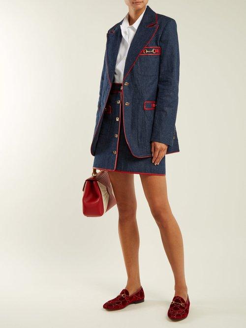 Jordaan logo-jacquard velvet loafers by Gucci