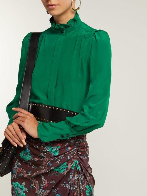 Lamia ruffle-trim silk blouse by Isabel Marant