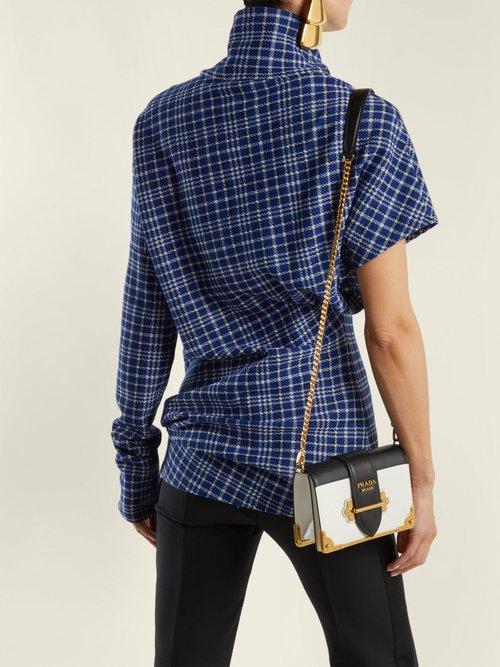 Cahier mini leather cross-body bag by Prada