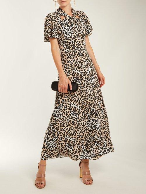 Wild Cat twist-neck leopard-print dress by Temperley London