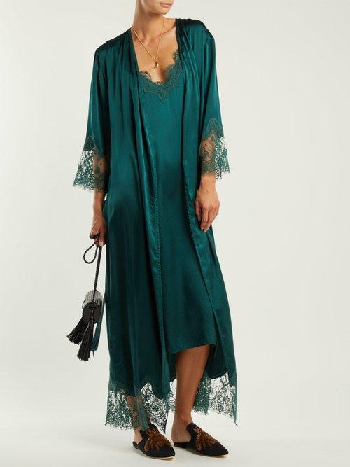Art Cornflower Silk Slip Dress by Icons