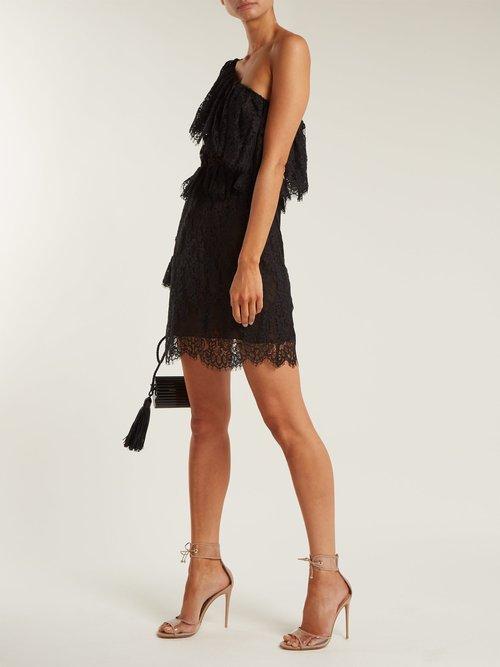 One-shoulder lace mini dress by Dundas