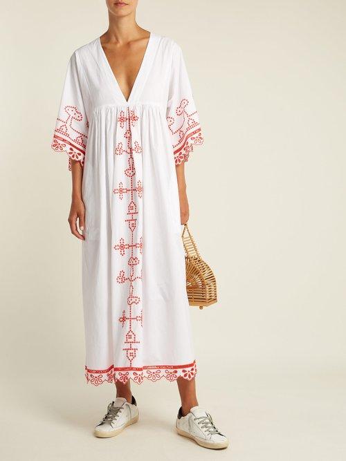 Shop Ganni Peony embroidered cotton midi dress online sale