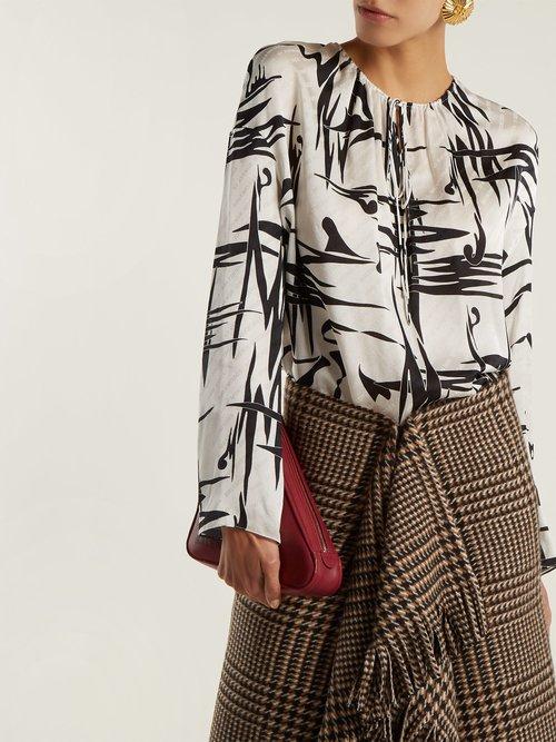 Abstract-print logo jacquard silk blouse by Balenciaga