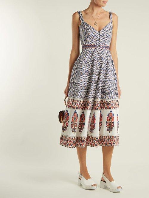Fara printed cotton-blend dress by Saloni