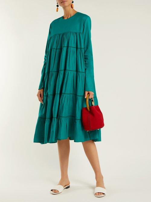 Essaouira gathered cotton midi dress by Merlette