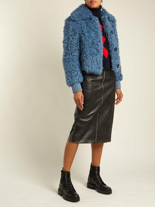 Buttoned Shearling Bomber Jacket by Miu Miu