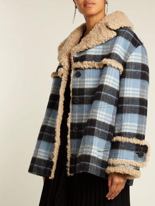 Plaid Wool Blend And Shearling Coat by Miu Miu