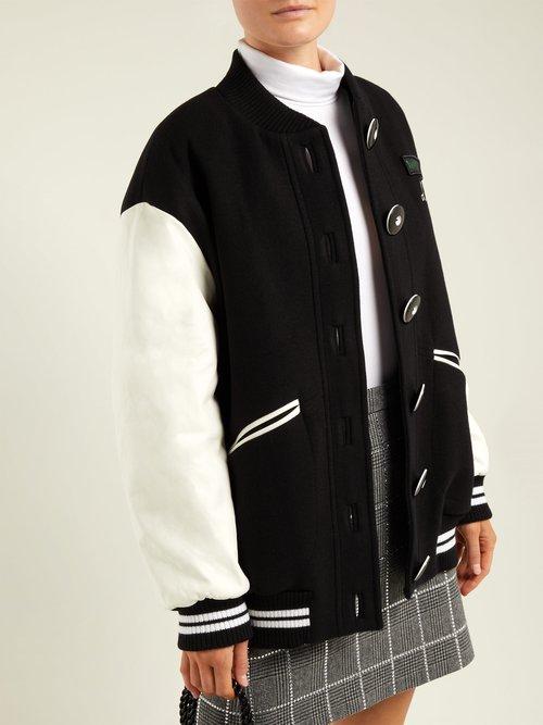 Leather Sleeve Wool Baseball Jacket by Miu Miu
