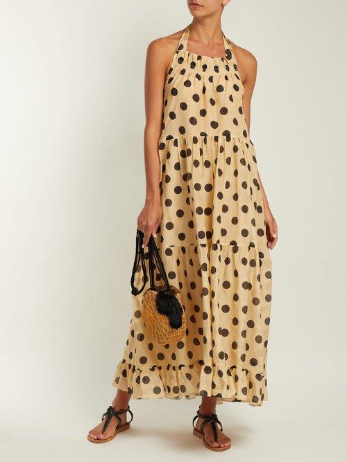 Minnie halterneck cotton-blend dress by Lee Mathews