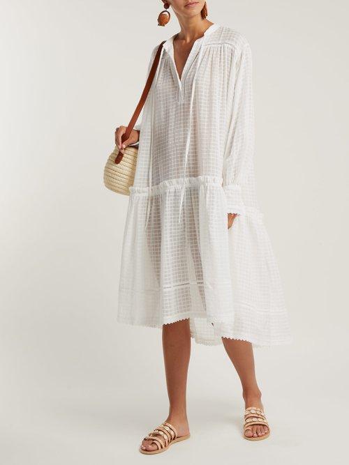 Laura checked cotton-muslin dress by Lee Mathews