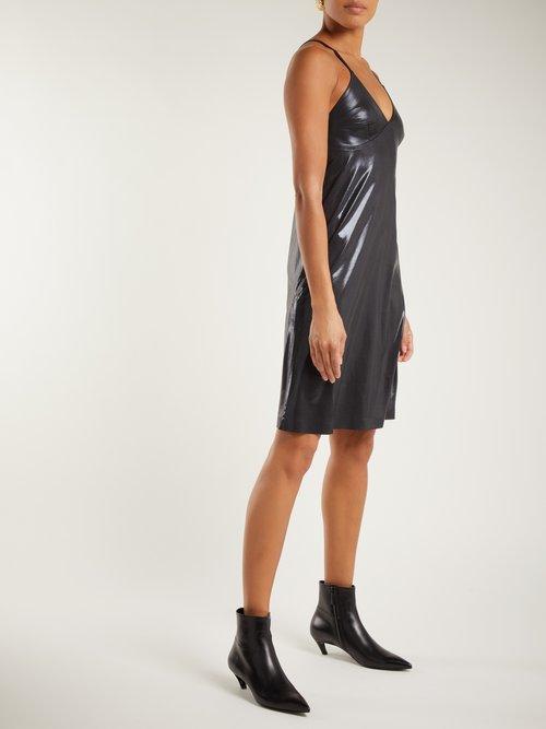 V-neck metallic slip dress by Norma Kamali