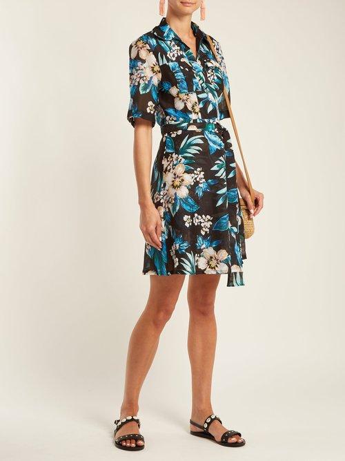 Floral-print cotton and silk-blend wrap dress by Diane Von Furstenberg