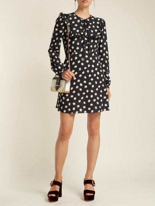 Daisy Print Lace Up Mini Dress by Miu Miu