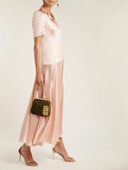 4AM crystal-embellished velvet clutch by Bienen-Davis